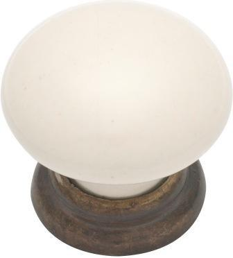 Tradco 'IVORY PORCELAIN' CUPBOARD KNOB Antique Brass 30mm 3485
