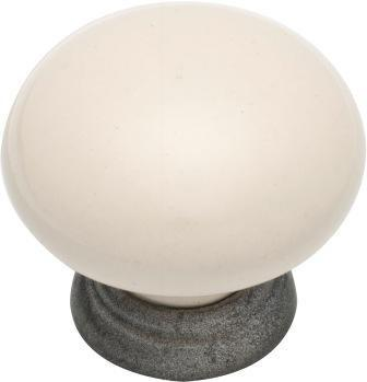 Tradco 'IVORY PORCELAIN' CUPBOARD KNOB Metallic Powdercoat 38mm 3494