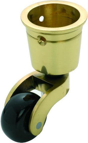 Tradco 'BROWN PORCELAIN WHEEL' CUP CASTOR Polished Brass 32mm 3512