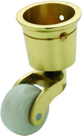 Tradco 'WHITE PORCELAIN WHEEL' CUP CASTOR Polished Brass 32mm 3516