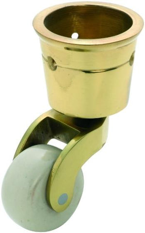 Tradco 'WHITE PORCELAIN WHEEL' CUP CASTOR Polished Brass 38mm 3517