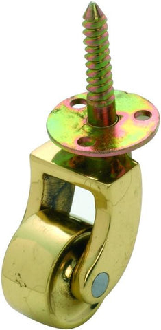 Tradco 'BRASS WHEEL' SCREW PLATE CASTOR Polished Brass 25mm 3520