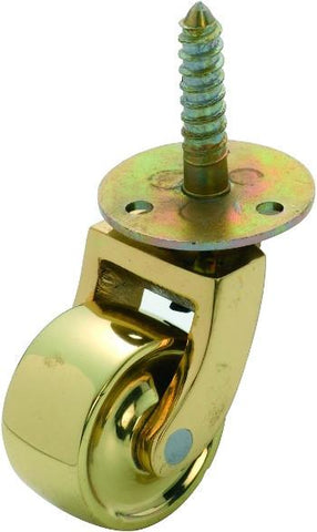 Tradco 'BRASS WHEEL' SCREW PLATE CASTOR Polished Brass 32mm 3522