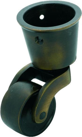 Tradco 'BRASS WHEEL' CUP CASTOR Antique Brass 32mm 3535