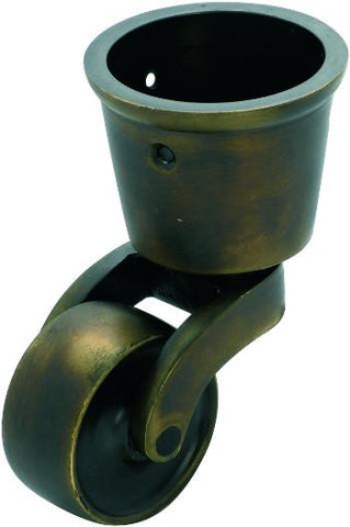 Tradco 'BRASS WHEEL' CUP CASTOR Antique Brass 38mm 3536