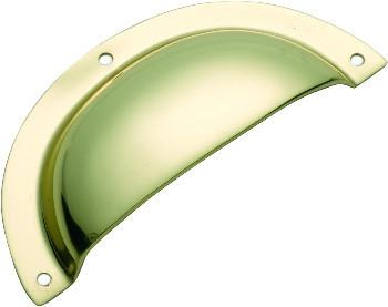 Tradco 'SHEET BRASS' DRAWER PULL Polished Brass 97mm x 40mm 3551