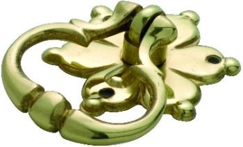 Tradco 'FLOWER RING PULL' CABINET HANDLE Polished Brass 45mm 3604
