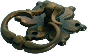 Tradco 'FLOWER RING PULL' CABINET HANDLE Antique Brass 45mm 3614