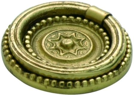 Tradco 'RING PULL' CABINET HANDLE Polished Brass 40mm 3620