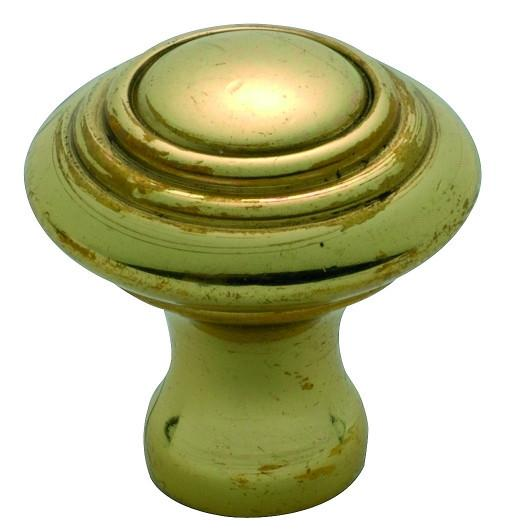 Tradco 'CAST BRASS' CUPBOARD KNOB Domed Polished Brass 24mm 3662