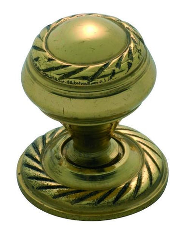 Tradco 'GEORGIAN' CUPBOARD KNOB Polished Brass 19mm 3670