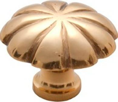 Tradco 'CAST BRASS' CUPBOARD KNOB Fluted Polished Brass 35mm 3675