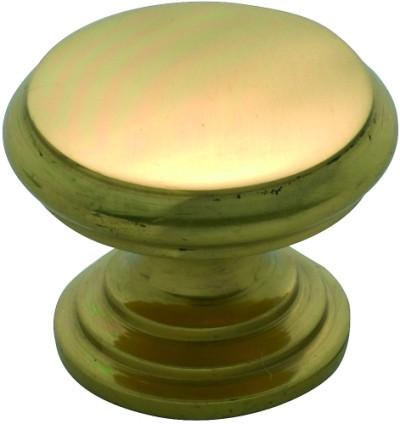 Tradco 'CAST BRASS' CUPBOARD KNOB Flat Polished Brass 25mm 3679