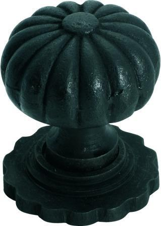 Tradco 'IRON' CUPBOARD KNOB Fluted with Back Plate Antique Finish 32mm 3691