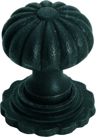 Tradco 'IRON' CUPBOARD KNOB Fluted with Back Plate Antique Finish 38mm 3692