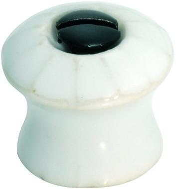 Tradco 'PORCELAIN' FACE FIX CUPBOARD KNOB White 19mm 3734