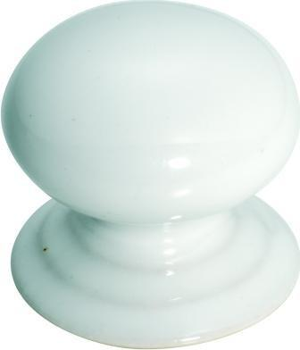 Tradco 'PORCELAIN' CUPBOARD KNOB White 38mm 3742