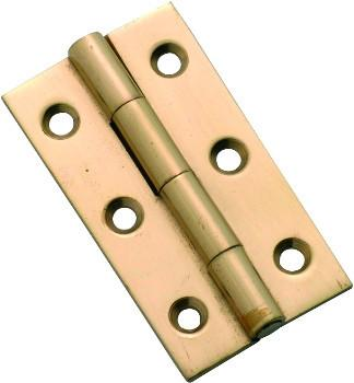 Tradco 'FIXED PIN CABINET HINGE' Polished Brass 50 x 28mm 3752