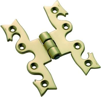 Tradco 'SNAKE' CABINET HINGE Polished Brass 75 x 50mm 3756