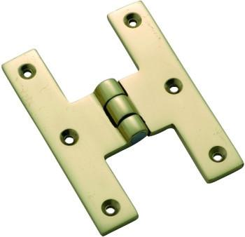 Tradco 'H' CABINET HINGE Polished Brass 70 x 50mm 3757
