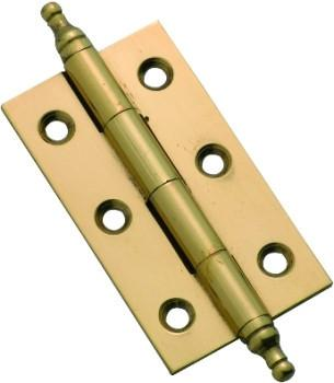 Tradco 'FIXED PIN FINIAL HINGE' Polished Brass H50 x W28mm 3762