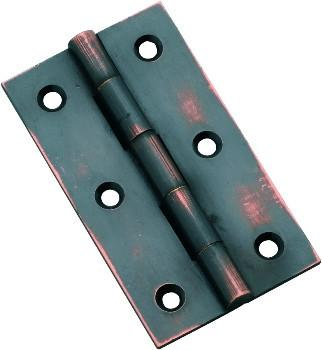 Tradco 'FIXED PIN CABINET HINGE' Antique Copper 63 x 35mm 3793