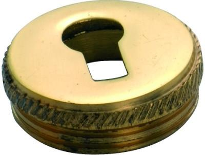 Tradco 'ROUND INSERT' ESCUTCHEON Polished Brass 19mm 3804