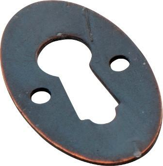 Tradco 'OVAL ESCUTCHEON' Antique Copper 16 x 28mm 3813