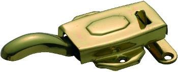 Tradco 'KITCHEN DRESSER LATCH' LEFT HAND Polished Brass 10mm offset 3831