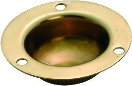 Tradco 'RECESSED ROUND PULL' Polished Brass 35mm 3837
