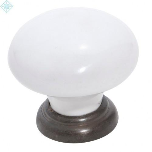 Tradco 'WHITE PORCELAIN' CUPBOARD KNOB Antique Brass 30mm 4145