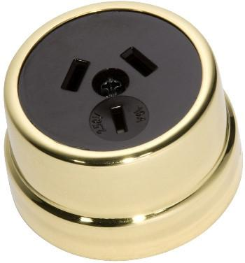 Tradco 'TRADITIONAL SOCKET' Polished Brass Brown 5479