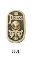 Tradco 'BELL PUSH' Polished Brass 5501 40mm x 80mm