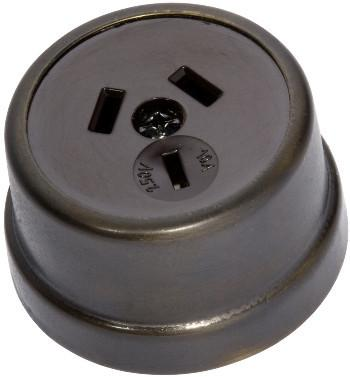 Tradco 'TRADITIONAL SOCKET' Antique Brass Brown 5554