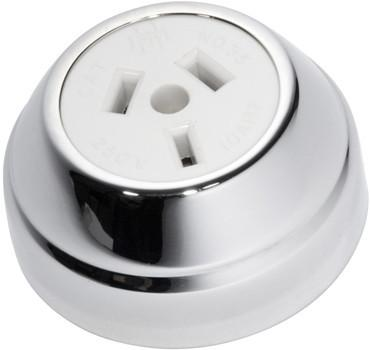 Tradco 'FEDERATION SOCKET' Chrome Plate White D60 xP29MM 5778
