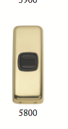 Tradco 'ROCKER SWITCH' Polished Brass Brown 5800 30mm x 82mm