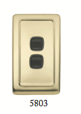 Tradco 'ROCKER 2 SWITCH' Polished Brass Brown 5803 72mm x 115mm