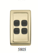 Tradco 'ROCKER 4 SWITCH' Polished Brass Brown 5805 72mm x 115mm