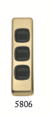 Tradco 'ROCKER TRIPLE SWITCH' Polished Brass Brown 5806 30mm x 108mm