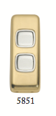 Tradco 'ROCKER DOUBLE SWITCH' Polished Brass 5851 30mm x 82mm