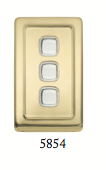Tradco 'ROCKER TRIPLE SWITCH' Polished Brass 5854 72mm x 115mm