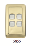 Tradco 'ROCKER 4 SWITCH' Polished Brass 5855 72mm x 115mm