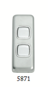 Tradco '2 ROCKER SWITCH' Satin Chrome 5871 30mm x 82mm