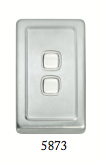 Tradco '2 ROCKER SWITCH' Satin Chrome 5873 72mm x 115mm