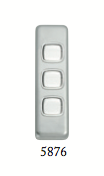 Tradco '3 ROCKER SWITCH' Satin Chrome 5876 30mm x 108mm