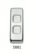 Tradco '2 ROCKER SWITCH' Chrome Plate 5551 30mm x 82mm