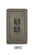 Tradco '2 TOGGLE SWITCH' Antique Brass 5893 72mm x 115mm