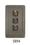 Tradco '3 TOGGLE SWITCH' Antique Brass 5894 72mm x 115mm
