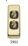 Tradco 'TOGGLE DOUBLE SWITCH' Polished Brass Brown 5901 30mm x 82mm