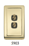 Tradco 'TOGGLE 2 SWITCH' Polished Brass Brown 5903 72mm x 115mm